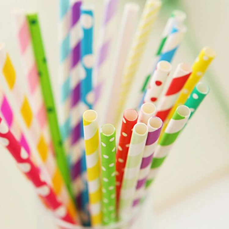 Disposable colorful paper striped straws